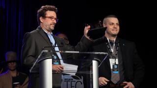 Tom Kundmann and Michael Johns of Shure accept TEC Award for Wireless Technology