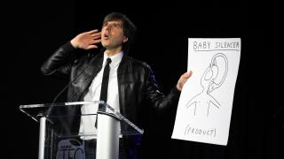 Demetri Martin introduces his own TEC product: the baby silencer