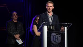 James Capparelle of Sennheiser accepts TEC Award for Audio Education Technology