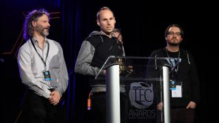 Lev Perry, Will Shanks, Chris Michael and Ryan Wardell of Universal Audio accept TEC Award for Computer Audio Hardware